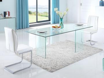 Mesa de comedor COLEDON - 8 cubiertos - Cristal templado
