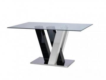 Mesa de comedor WINCH - 6 cubiertos - MDF y Cristal templado - Negro y blanco