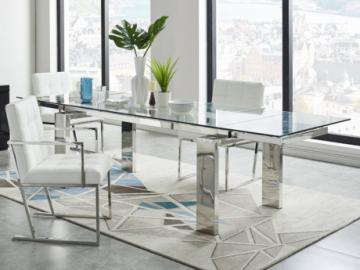 Mesa de comedor extensible LUBANA - Cristal templado y metal - 8 a 10 cubiertos