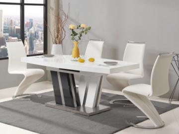 Mesa de comedor extensible NOAMI - 6 a 8 comensales - MDF lacado gris y blanco