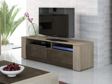 Mueble TV SUMAI - 2 cajones & 2 baldas - Color roble & chocolate