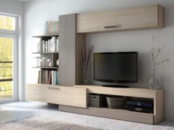 Mueble TV mural SPIKE con espacios de almacenaje - Roble y topo