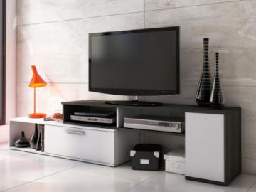 Mueble TV extensible DARYL - Gris antracita y blanco