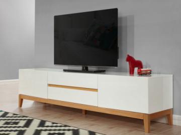 Mueble TV SEDNA - 2 puertas y 2 cajones - Roble macizo y MDF lacado blanco