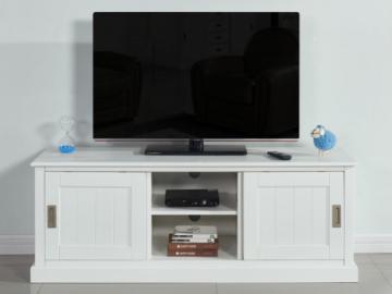 Mueble TV GUERANDE - 2 puertas, 2 huecos - Pino blanco