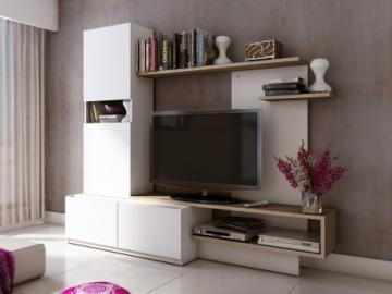 Mueble TV mural RODRIGO con espacio de almacenaje - Madera y MDF - Blanco y roble