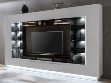 Mueble TV BLAKE con compartimentos - LEDs - Blanco lacado