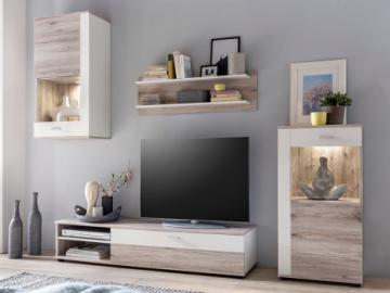 Mueble TV TYLER con compartimentos - LEDs - Blanco y roble