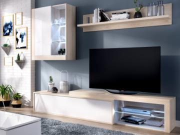 Mueble TV AKABA - con compartimentos - LEDs - Color: roble y blanco