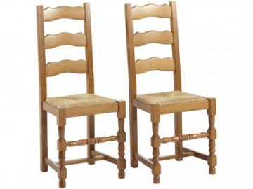 Conjunto de 2 sillas SEGUIN - Haya maciza y asiento de paja de centeno