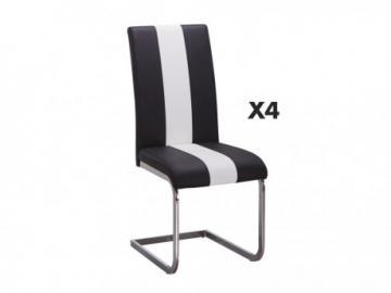 Conjunto de 4 sillas de piel sintética TRINITY - Negro y blanco