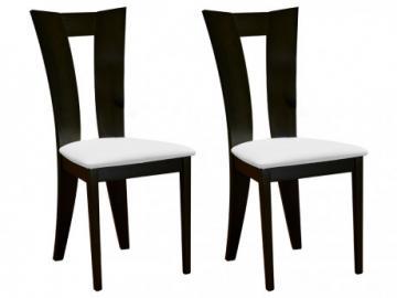 Conjunto de 2 sillas TIFFANY - Haya maciza tono wengué - Asiento blanco