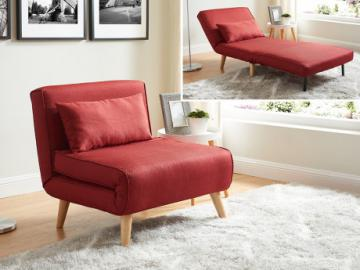 Sillón cama POSIO de tela - Rojo