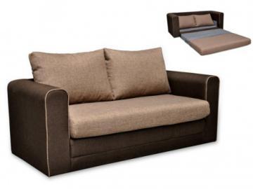 Sofá cama 2 plazas de tela DANUBE - Chocolate y Beige