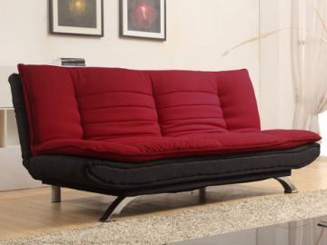Sofá cama clic-clac tela DEMIDO - Rojo y gris antracita