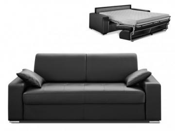 Sofá cama italiano 3 plazas piel sintética EMIR - Negro - Cama 140cm - Colchón 14cm