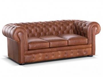 Sofá cama Chesterfield 3 plazas 100% piel LONDRES - Piel vintage color caramelo