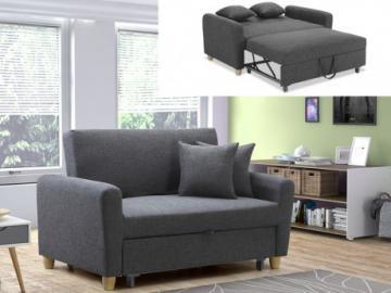 Sofá cama 2 plazas de tela XAVIER - Color gris