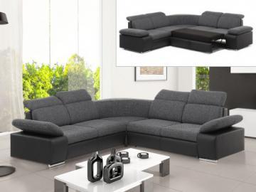 Sofá cama rinconero simétrico de tela y piel sintética RABELAIS - Bicolor gris antracita y negro
