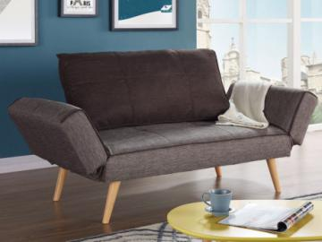 Sofá cama clic-clac EBATY tapizado de tela - marrón topo/chocolate