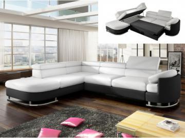 Sofá cama rinconero de piel sintética MYSEN - Blanco y negro - Ángulo izquierdo