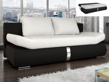 Sofá cama 2 plazas de piel sintética JADEN - Bicolor blanco y negro