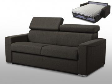 Sofá cama italiano 3 plazas de tela VIZIR - Chocolate - Cama 140 cm - Colchón 14cm
