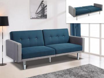 Sofá cama 3 plazas de tela CALDER - Azul y brodes gris claro