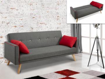 Sofá cama 3 plazas de tela DARVEL - Gris con cojines rojos