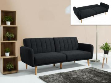 Sofá cama 3 plazas de tela VENLO - Gris antracita