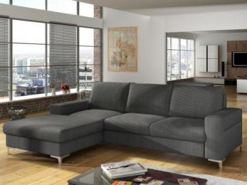 Sofá cama rinconero de tela CHONA - Gris antracita - Ángulo izquierdo