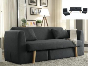 Sofá cama 3 plazas modular de tela SINIBA - Gris antracita