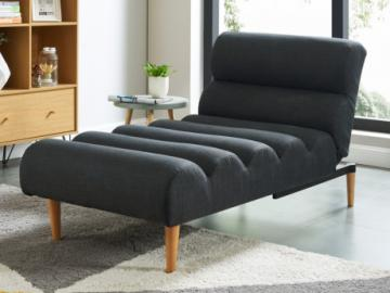 Chaise longue cama de tela CIVAL - Antracita