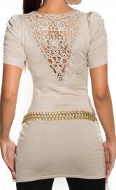 Beżowa tunika damska / tunika z bufkami na ramionach| beżowe swetry damskie 1027 - Lejdi