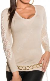 Beżowy sweter z koronką | swetry damskie, 1401 - Lejdi
