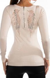 Beżowy sweter ze skrzydłami | wysmuklający sweter angel wings, 8237 - Lejdi