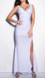 Biała sukienka z koronka i kryształkami |Suknia wieczorowa , studniówka, karnawał, ślub cywilny - Lejdi