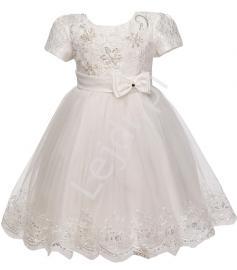 Biała tiulowa sukienka z krótkim rękawkiem | sukienki dla dziewczynek - Lejdi