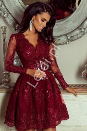 Bordowa sukienka, elegancka rozkloszowana sukienka koronkowa - Amelia - Lejdi