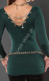Butelkowo zielona tunika przeplatana metaliczną nicią - złoty łańcuch z tyłu 8041 - Lejdi