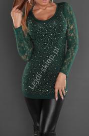 Butelkowo zielona tunika z koronkowymi rękawami   tuniki damskie