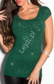 Butelkowo zielony sweter damski z krótkim rękawkiem z duża ilościa cyrkoni i rozcięciem na plecach, 035