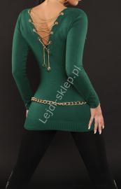 Butelkowo zielony sweter zdobiony złotym łańcuszkiem na plecach |zielony młodzieżowy sweter - Lejdi