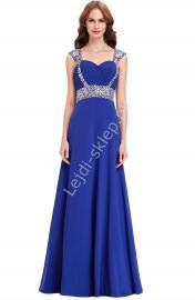 Chabrowa długa sukienka, sukienki wieczorowe | niebieskie sukienki - Lejdi