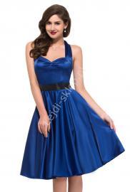 Chabrowa sukienka pin-up na szyję| sukienki lata 60-te,70-te - Lejdi