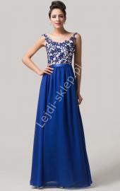 Chabrowa sukienka wieczorowa z gipiurą| długie sukienki wieczorowe - Lejdi