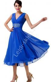 Chabrowa szyfonowa rozkloszowana sukienka 3/4 z kryształkami w pasie | sukienki na wesele, dla mamy - Lejdi