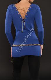Chabrowy sweter zdobiony złotym łańcuszkiem na plecach | sweter damski, młodzieżowy sweter - Lejdi