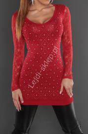 Ciemno czerwona tunika z jetami i koronkowymi plecami - Lejdi