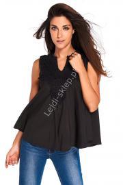 Czarna bluzka z gipiurową koronką przy dekolcie - Lejdi